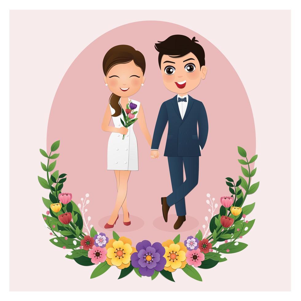 bruden och brudgummen i cirkel ram med blommor vektor