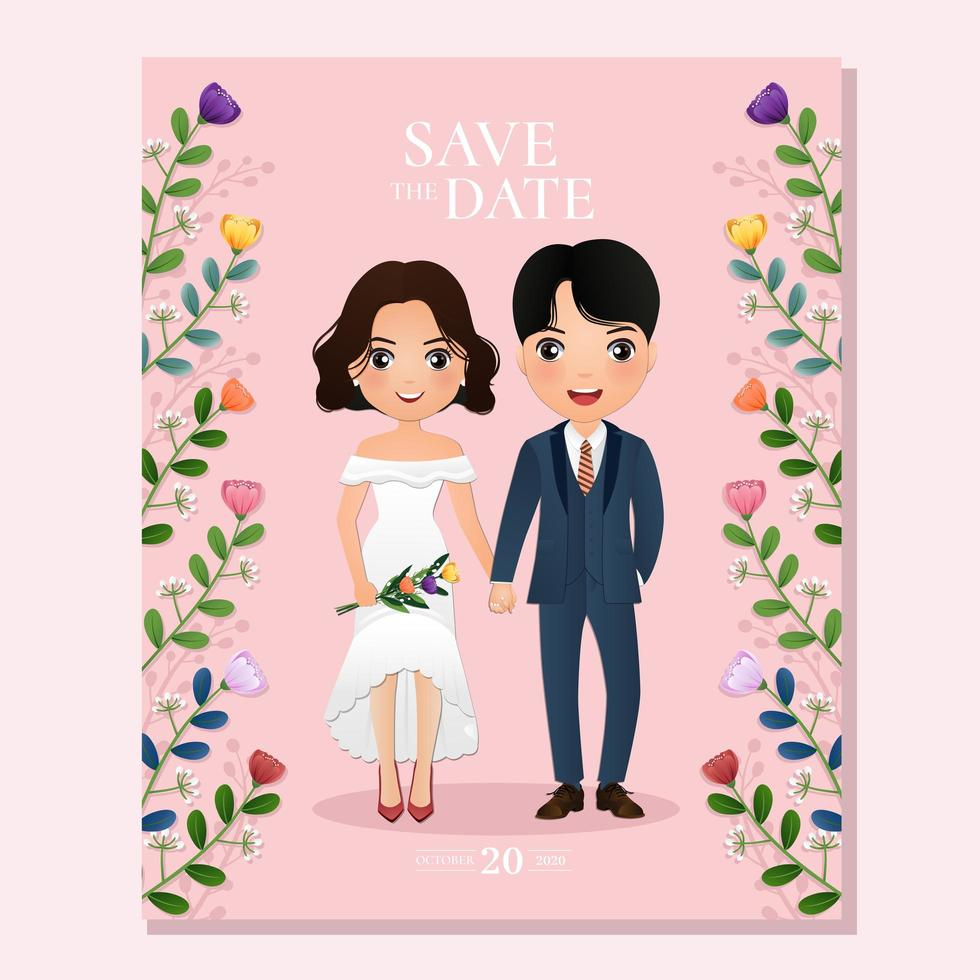 Pink Floral Save the Date with Bride and Groom vector