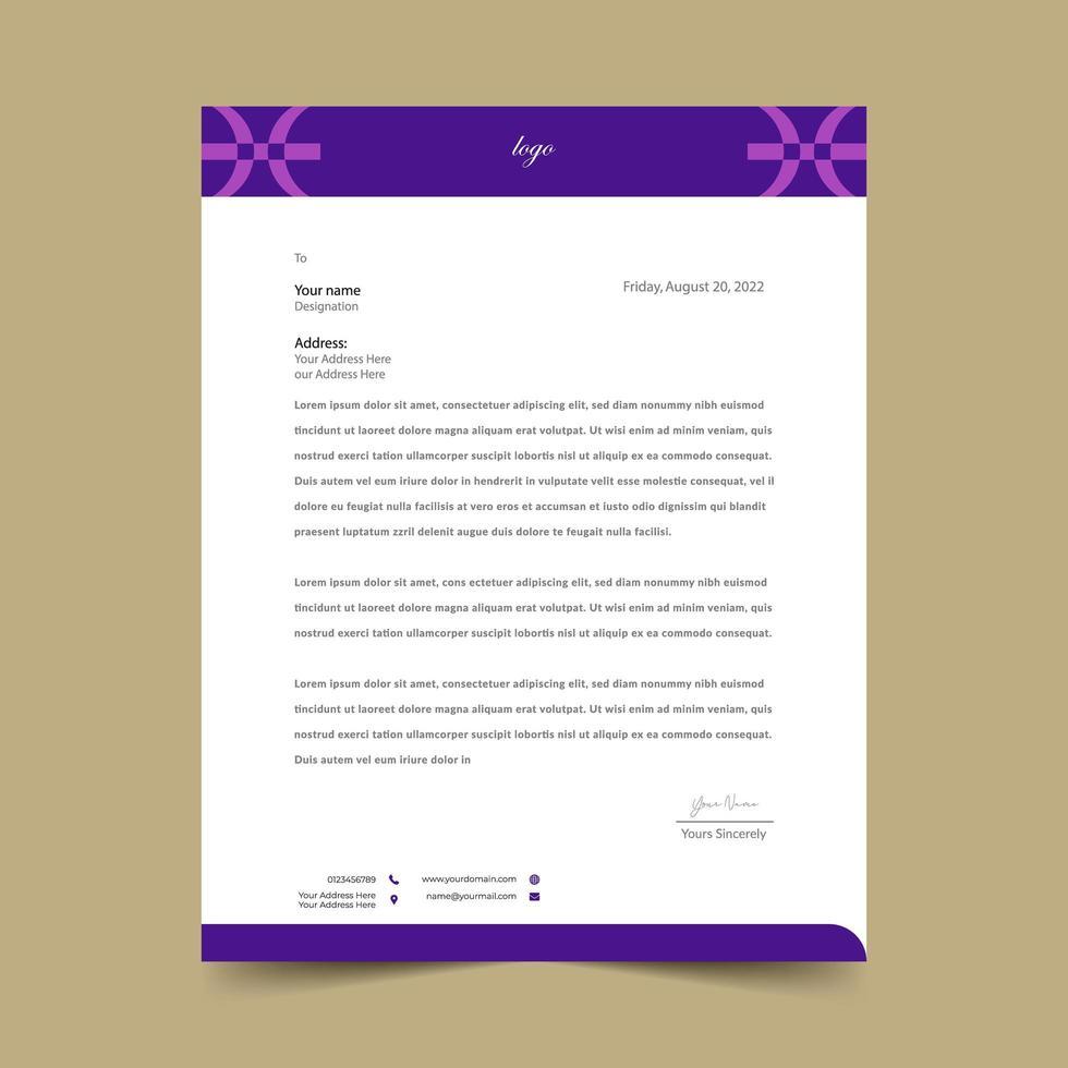 Purple Geometric  Letterhead Template  vector
