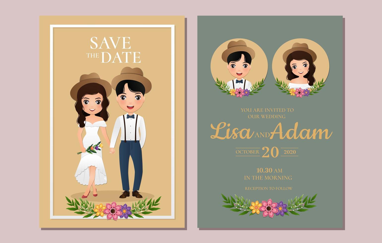 spara datumkorten med par i hattar vektor
