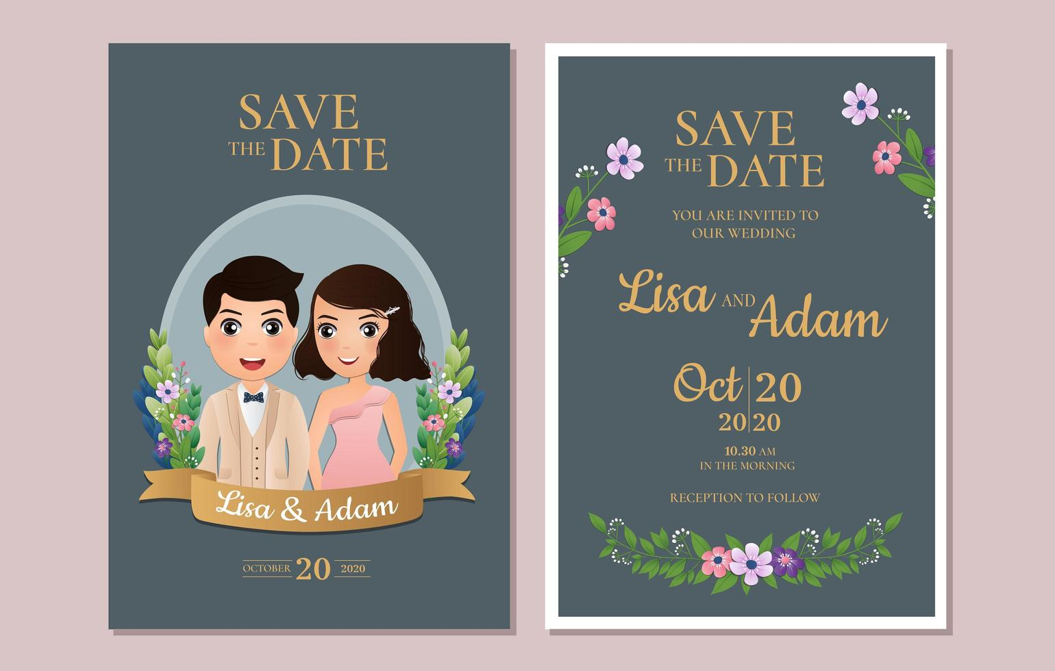 Save the Date Cards with Couple in Blue Frame vector