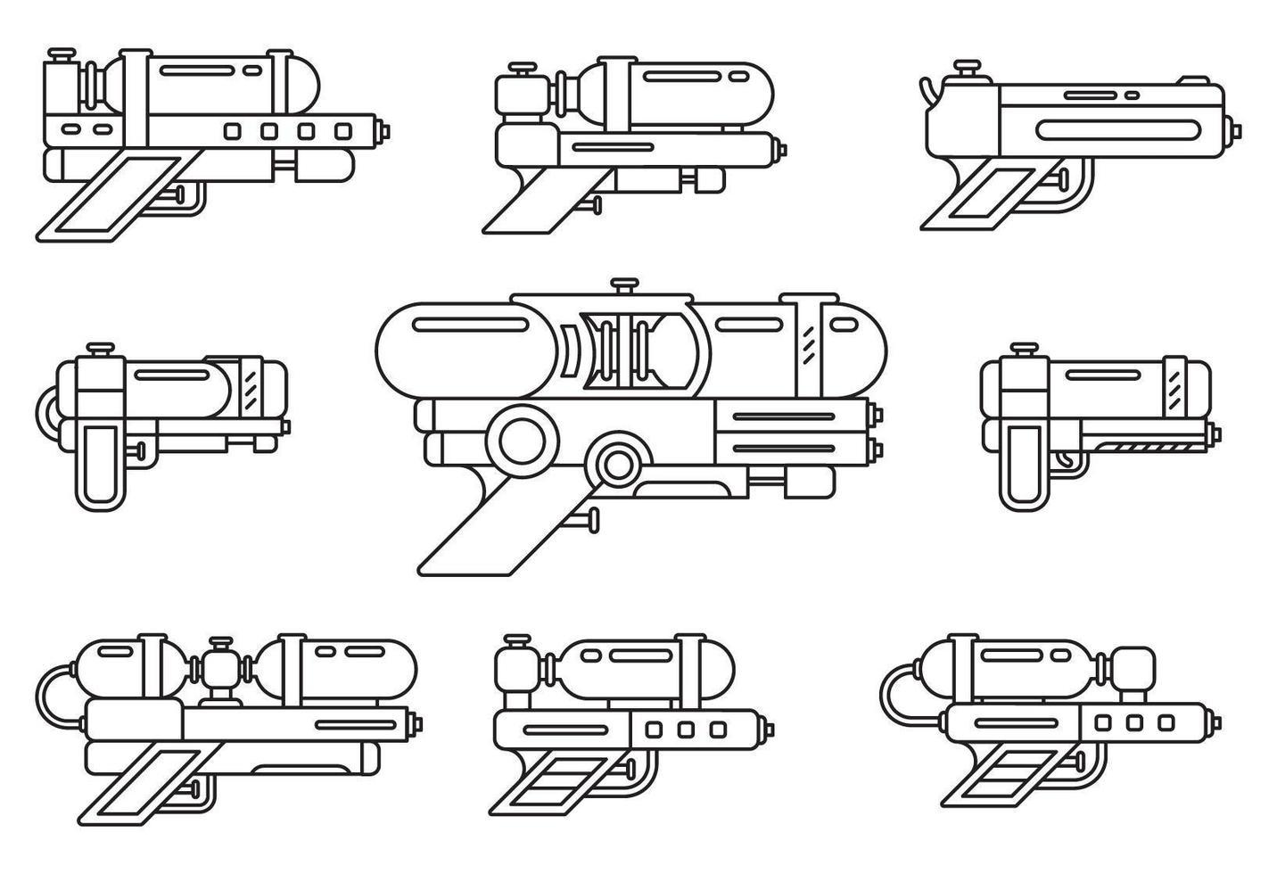 conjunto de contorno de pistola de agua vector