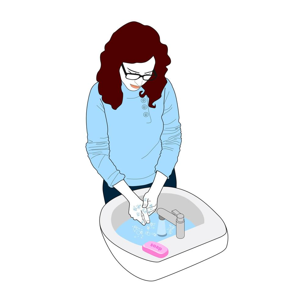 mulher lavando as mãos para prevenção de vírus vetor