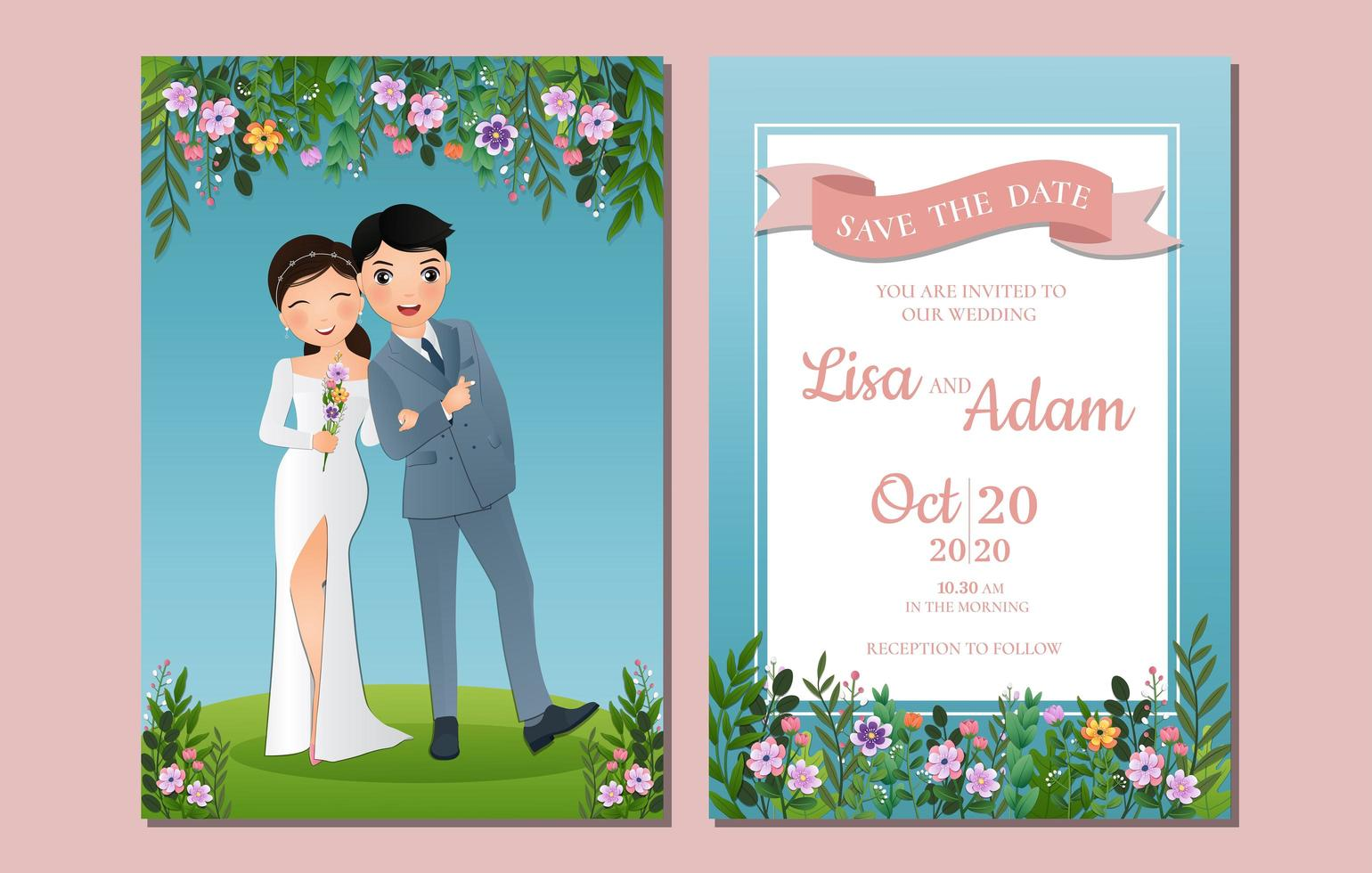 Save the Date with Couple Outdoors vector