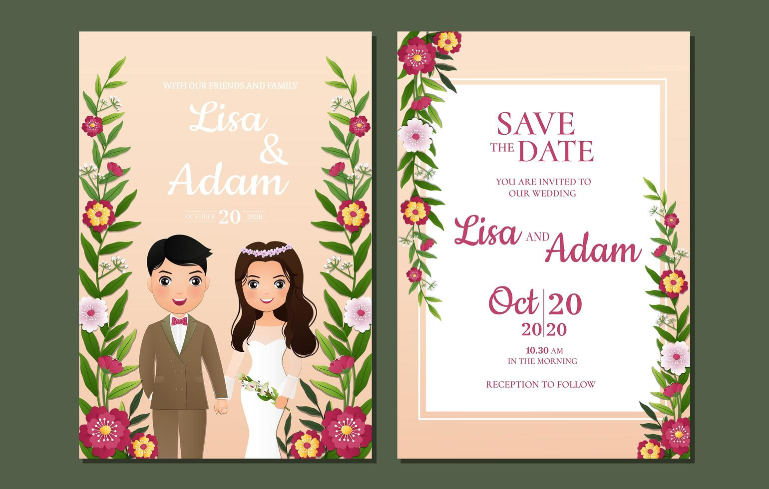 Floral Vine Save the Date Card vector