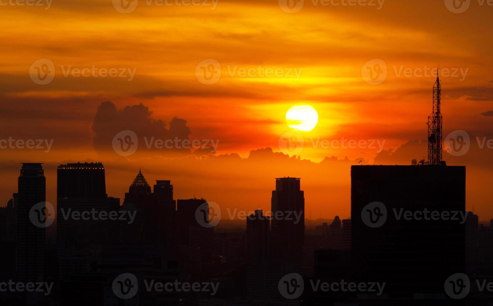 Sunset over the city photo