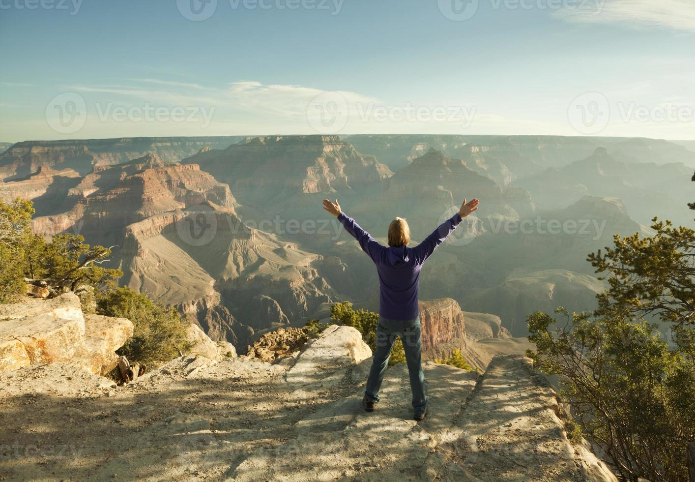 turista disfrutando del parque nacional del gran cañón borde sur hz foto