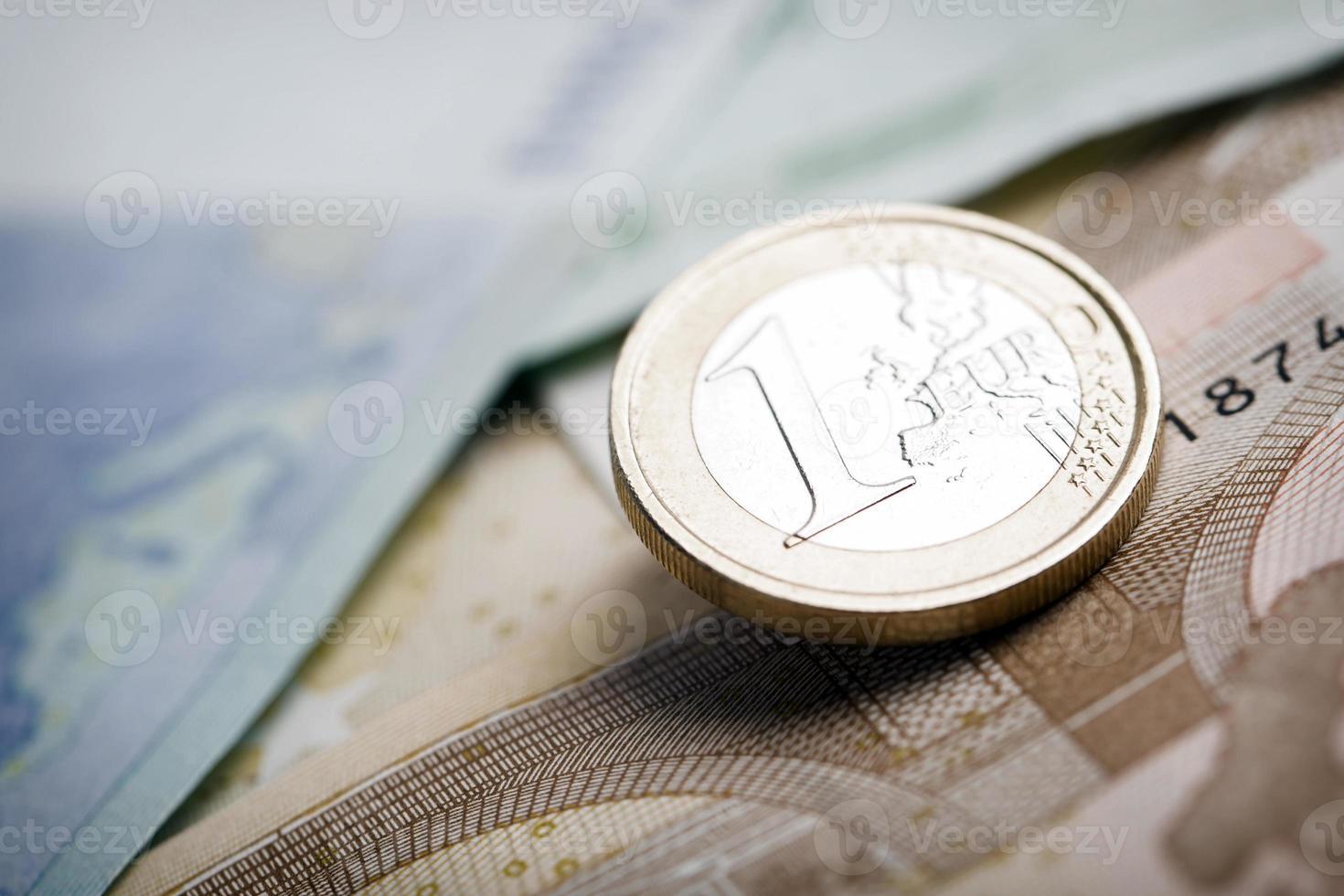 Closeup of euro banknotes and coins photo