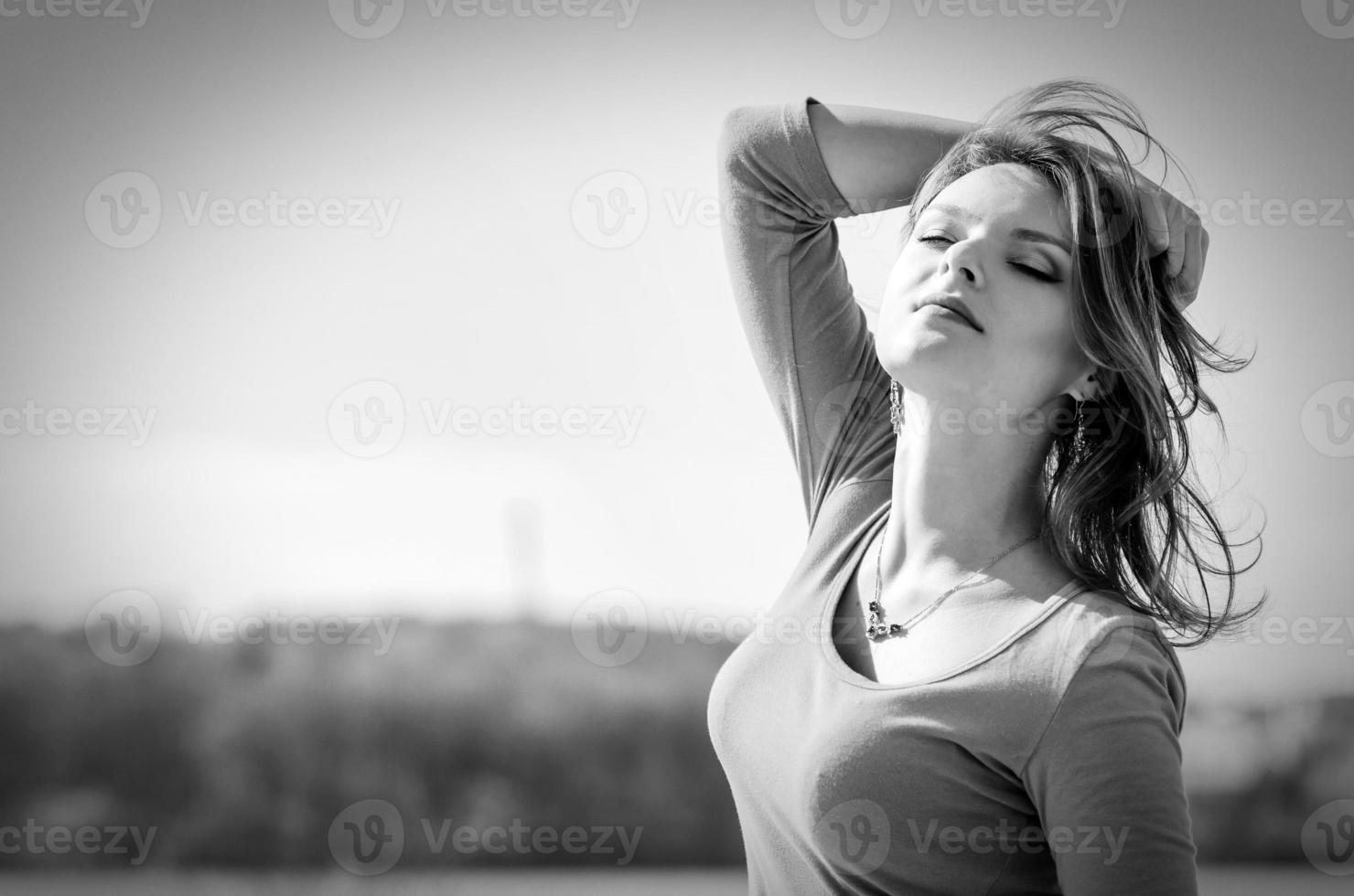 Woman in Black & White in nature photo