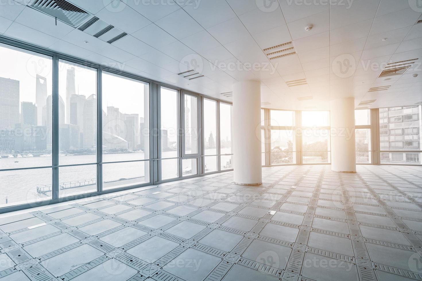 empty office room in modern office buildings photo