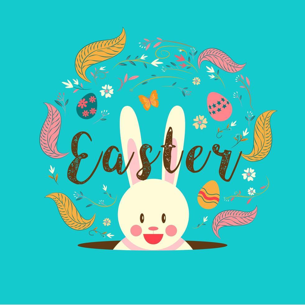 tipografia de Páscoa sobre coelho no buraco vetor