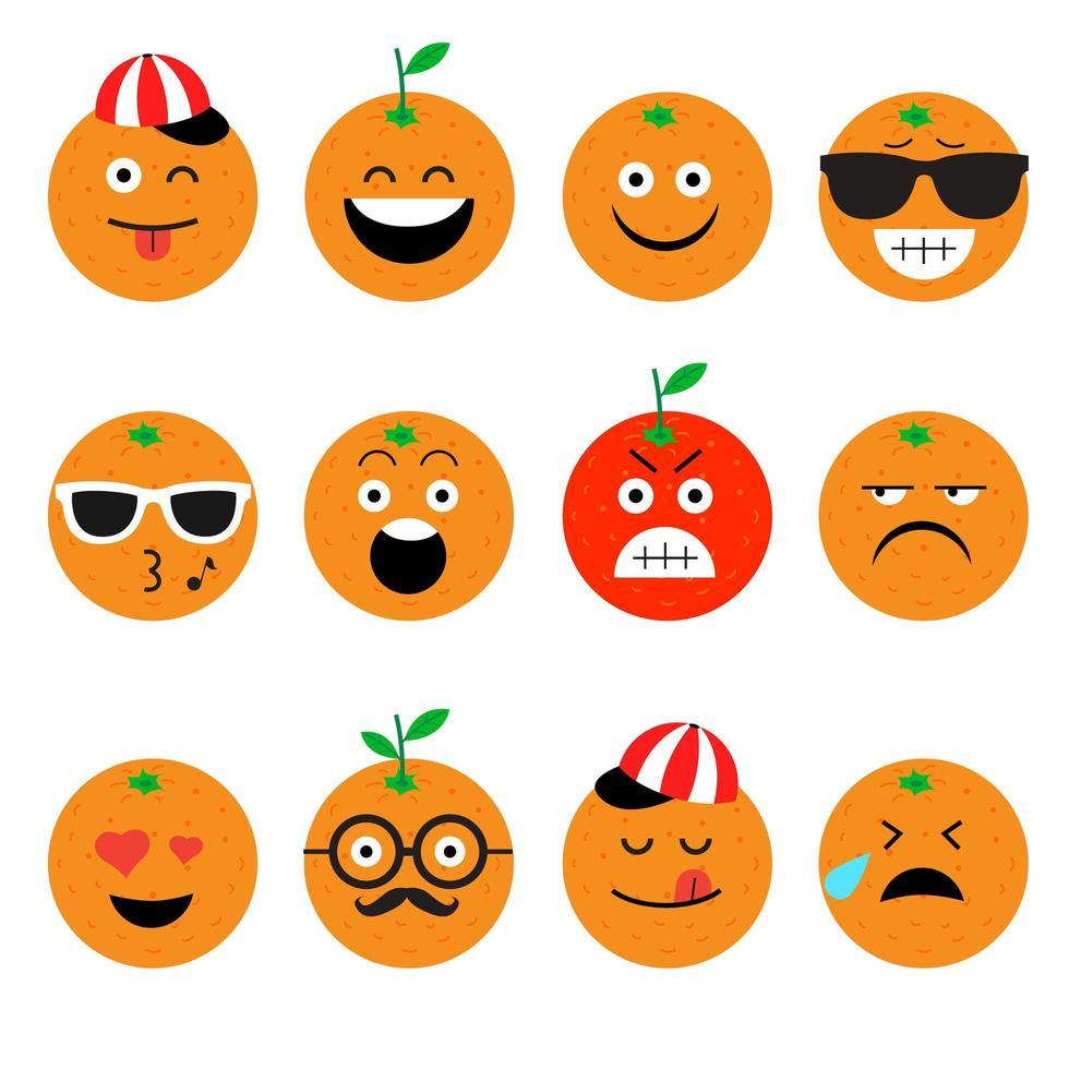 conjunto de emoji de fruta naranja vector
