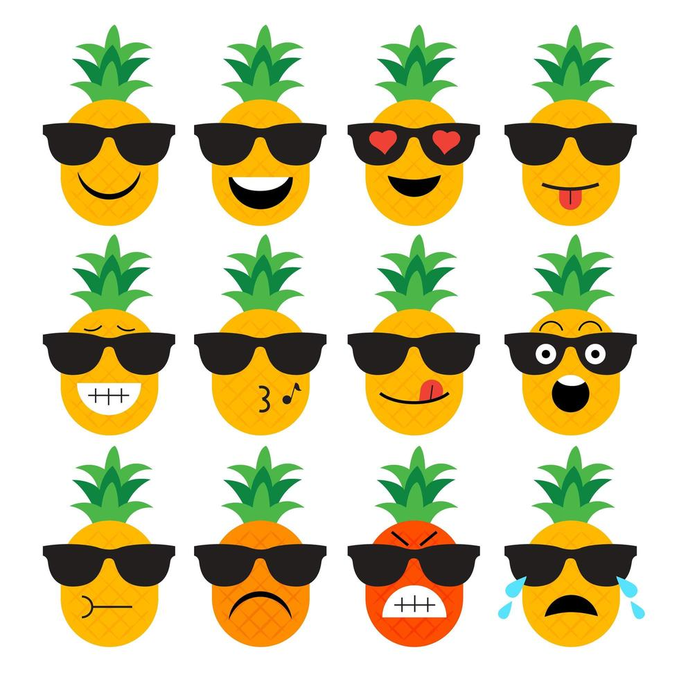 Pineapple Fruit Emoji Set vector