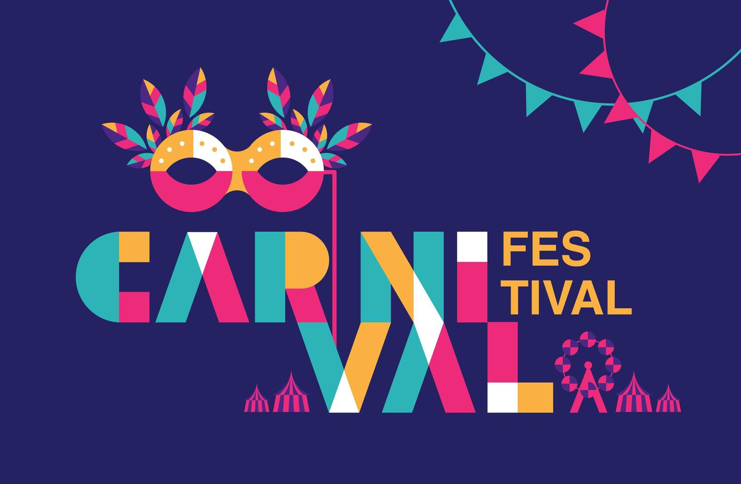 Carnival Typogrphy Poster  with Mask and Garland vector
