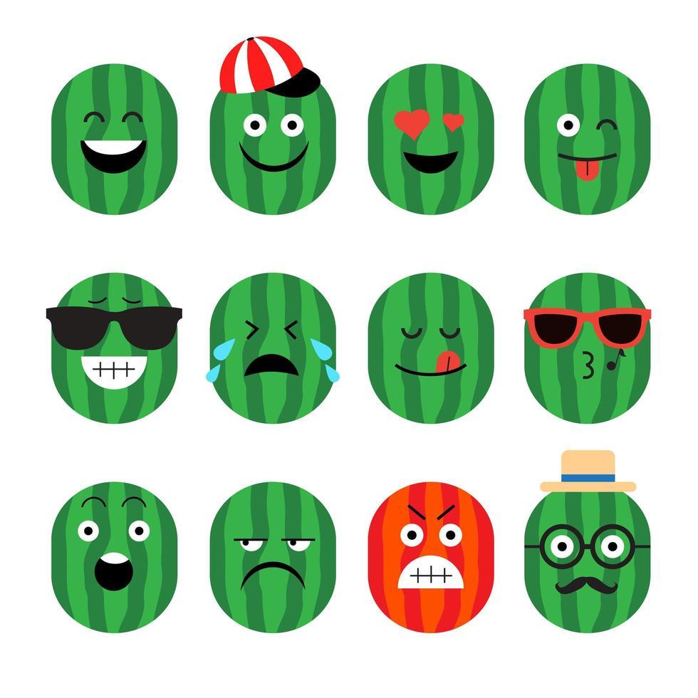 vattenmelon frukt emoji uppsättning vektor