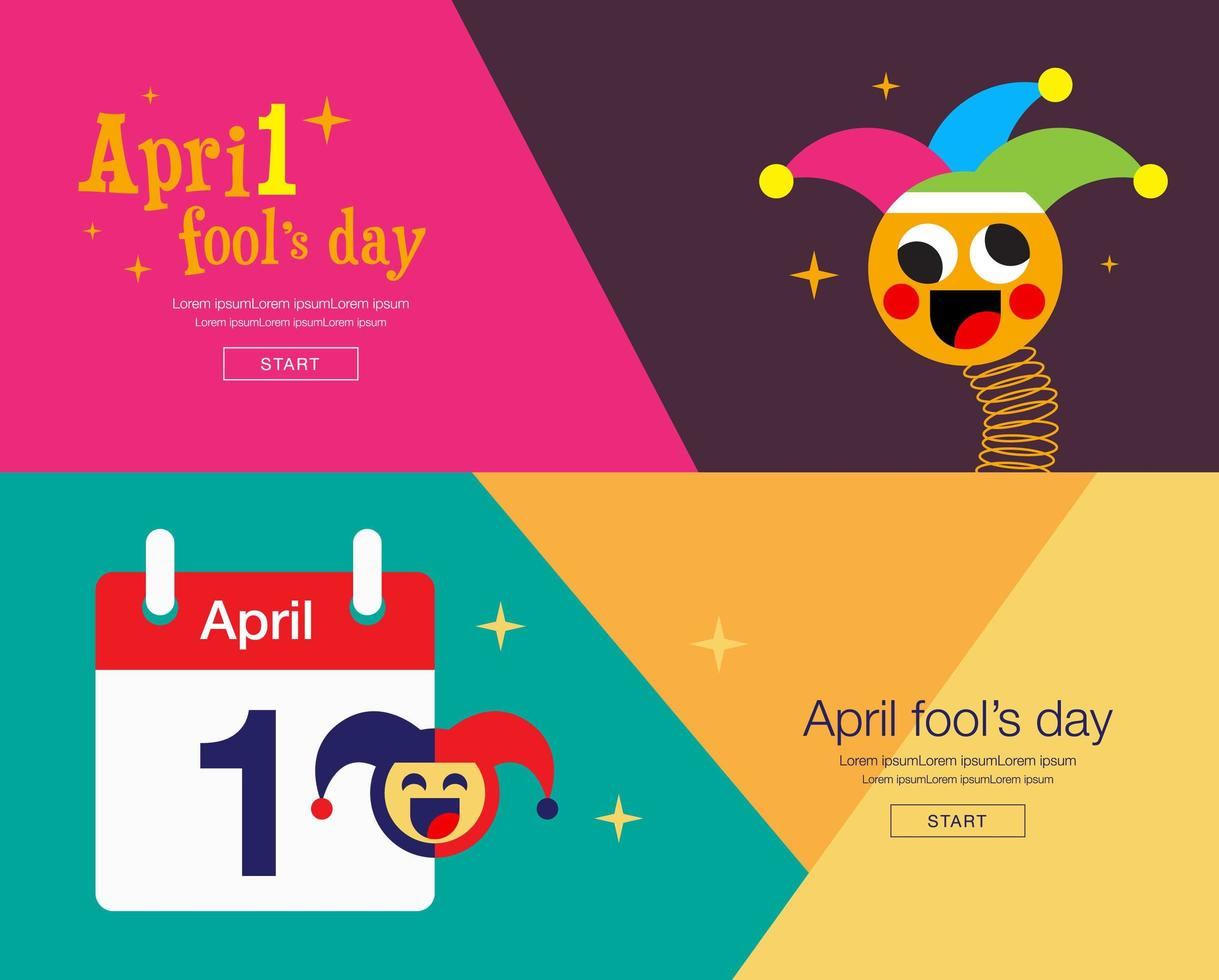 April Fool's Banner Set with Jesters vector