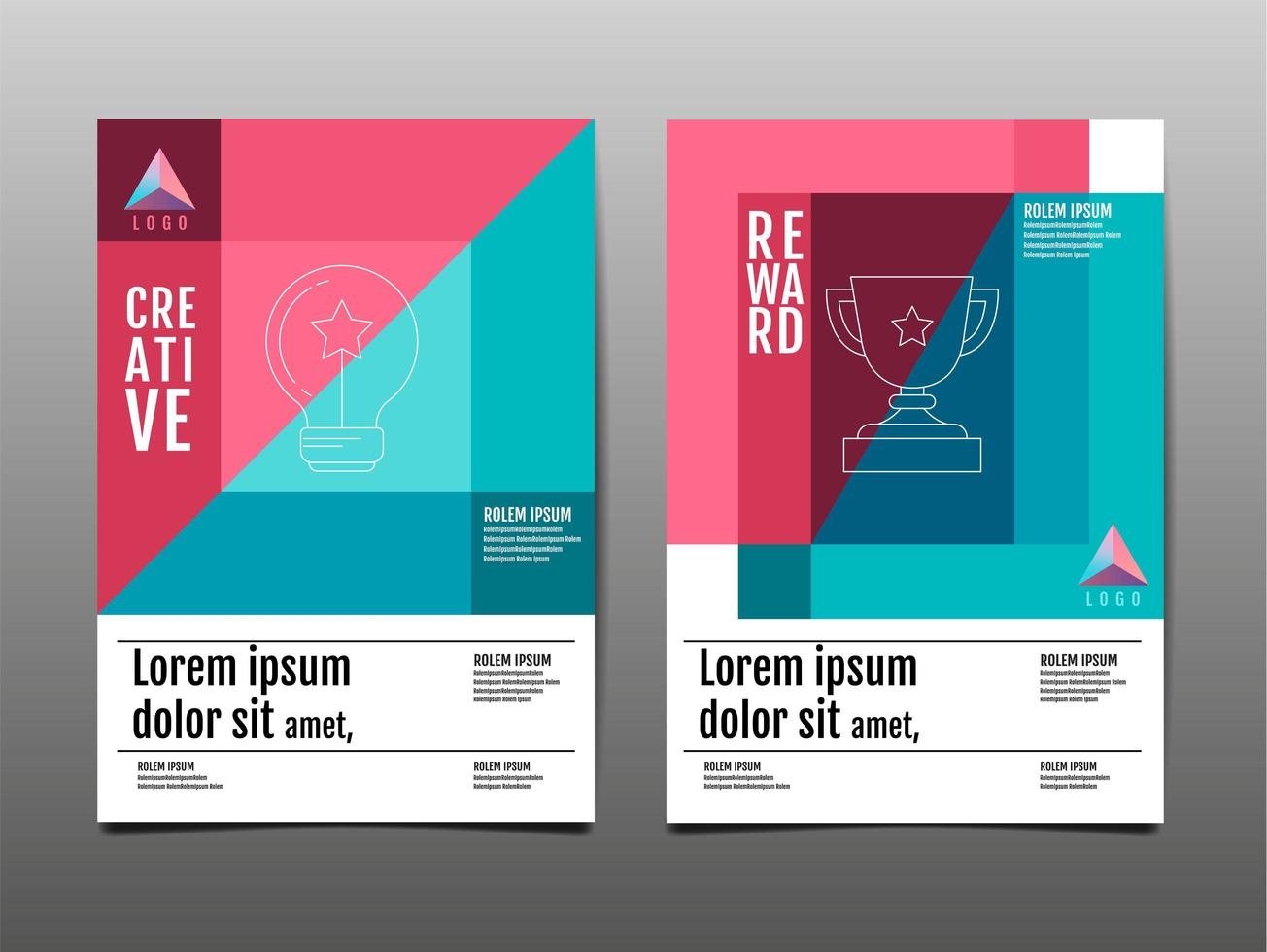 Geometric Angle Design Pink and Blue Flyer Set vector