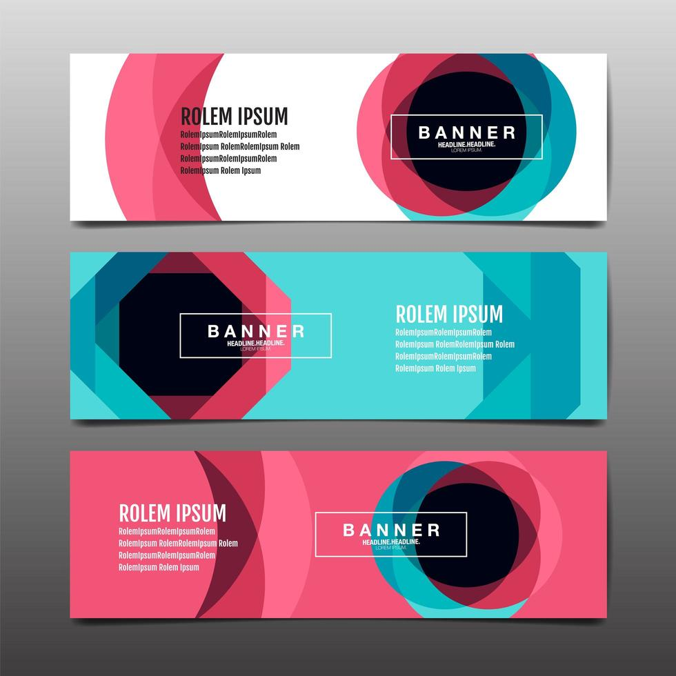 Modern geometric blue and pink banners vector