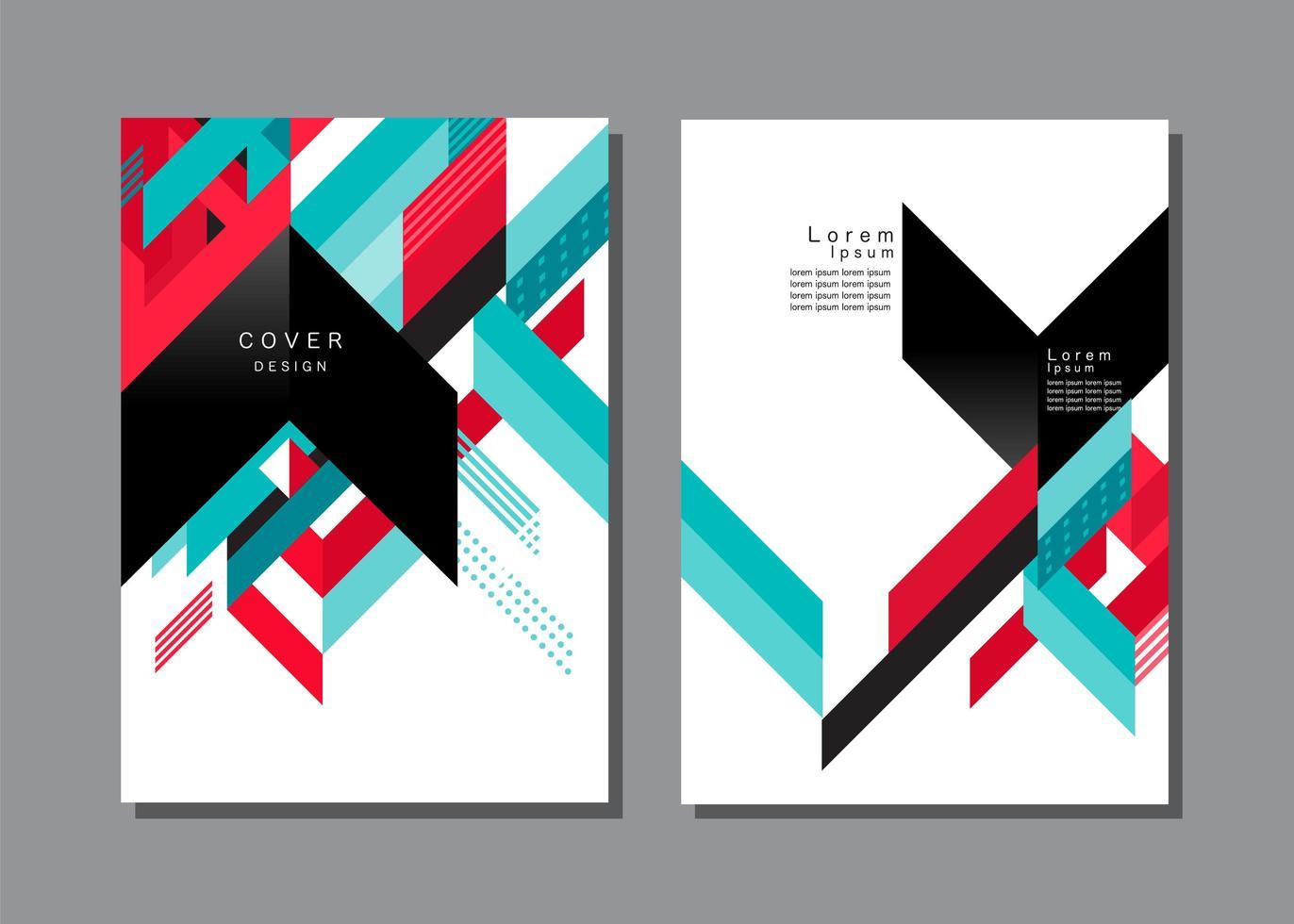 Colorful Geometric Chevron Cover Template vector