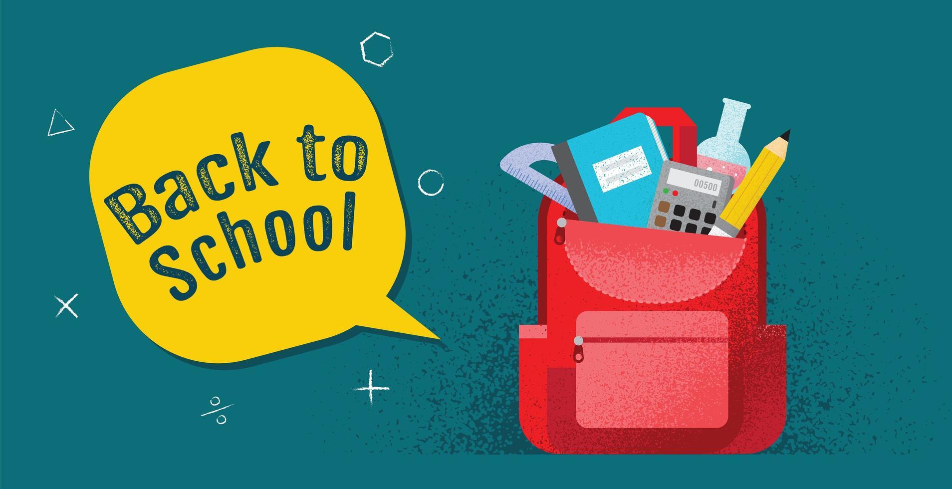 cartel de regreso a la escuela con mochila y útiles vector