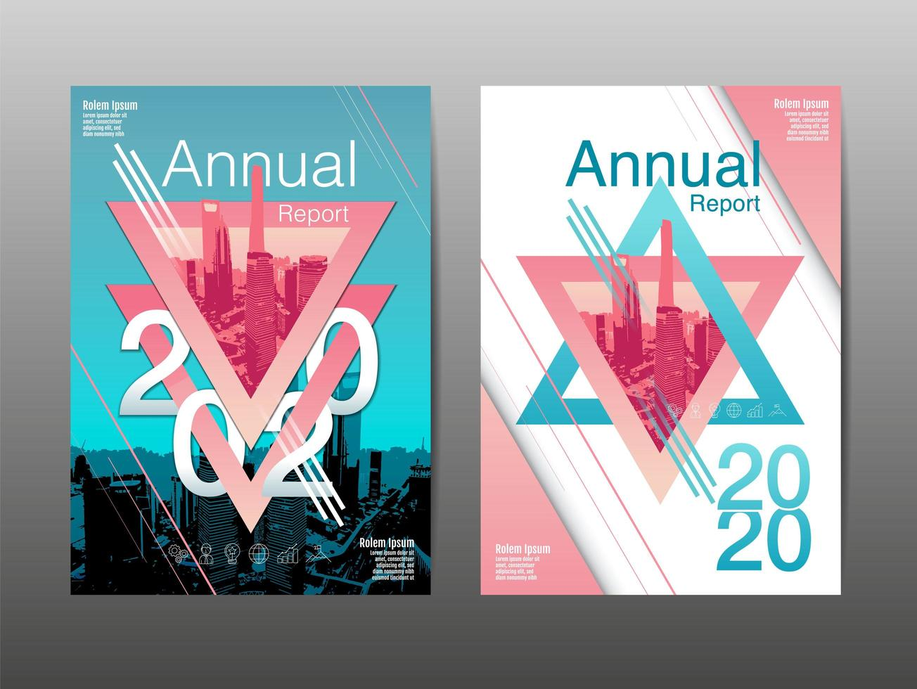 Annual Report Cover Set with Star Design vector