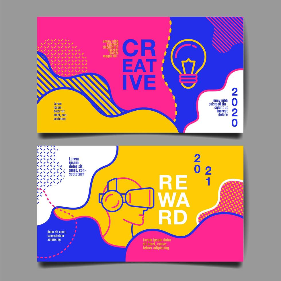 Horizontal Annual Report 2020 and 2021 Card Set vector