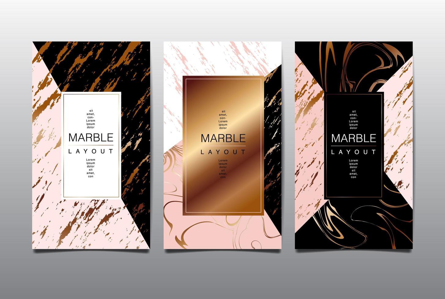 tarjeta vertical rosa y negra con veteado dorado vector