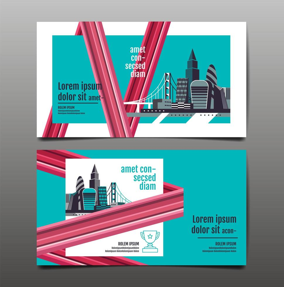 Horizontal annual report banner with city scene vector