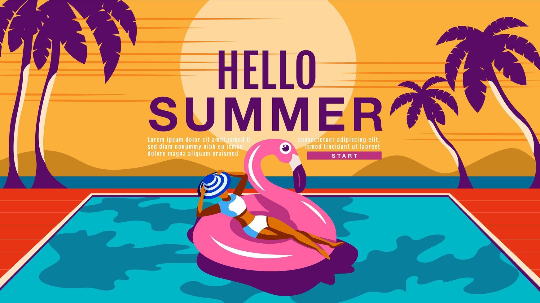 mulher nas férias de verão flutuando na piscina vetor