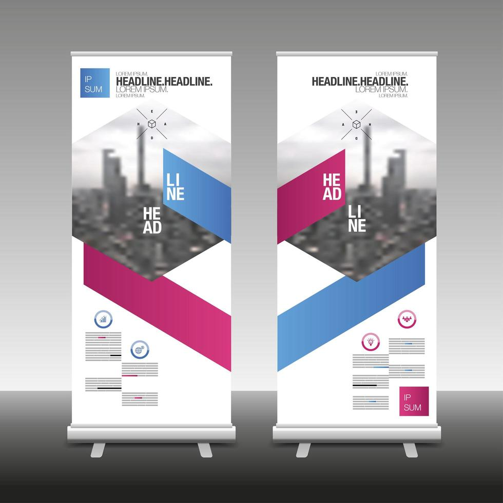 Roll Up Banner Stand Design with Angled Design vector