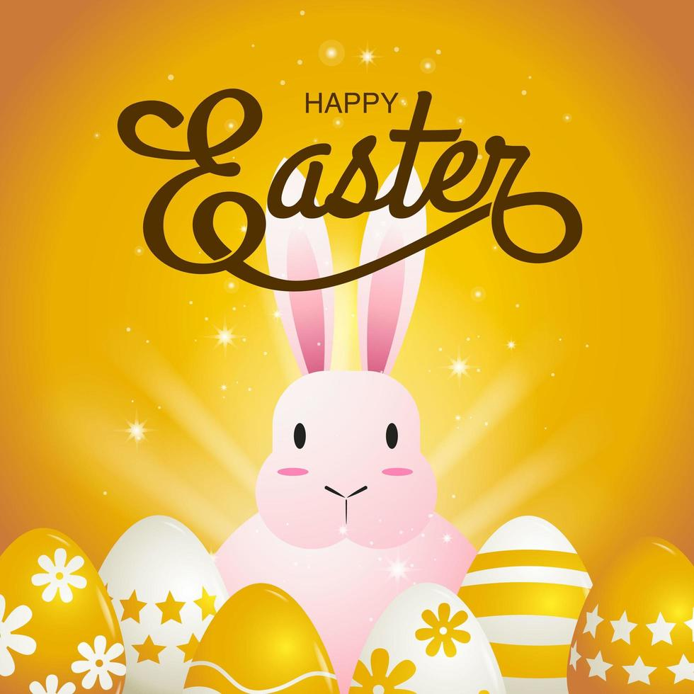 Square Golden Card with Pink Bunny and Eggs vector