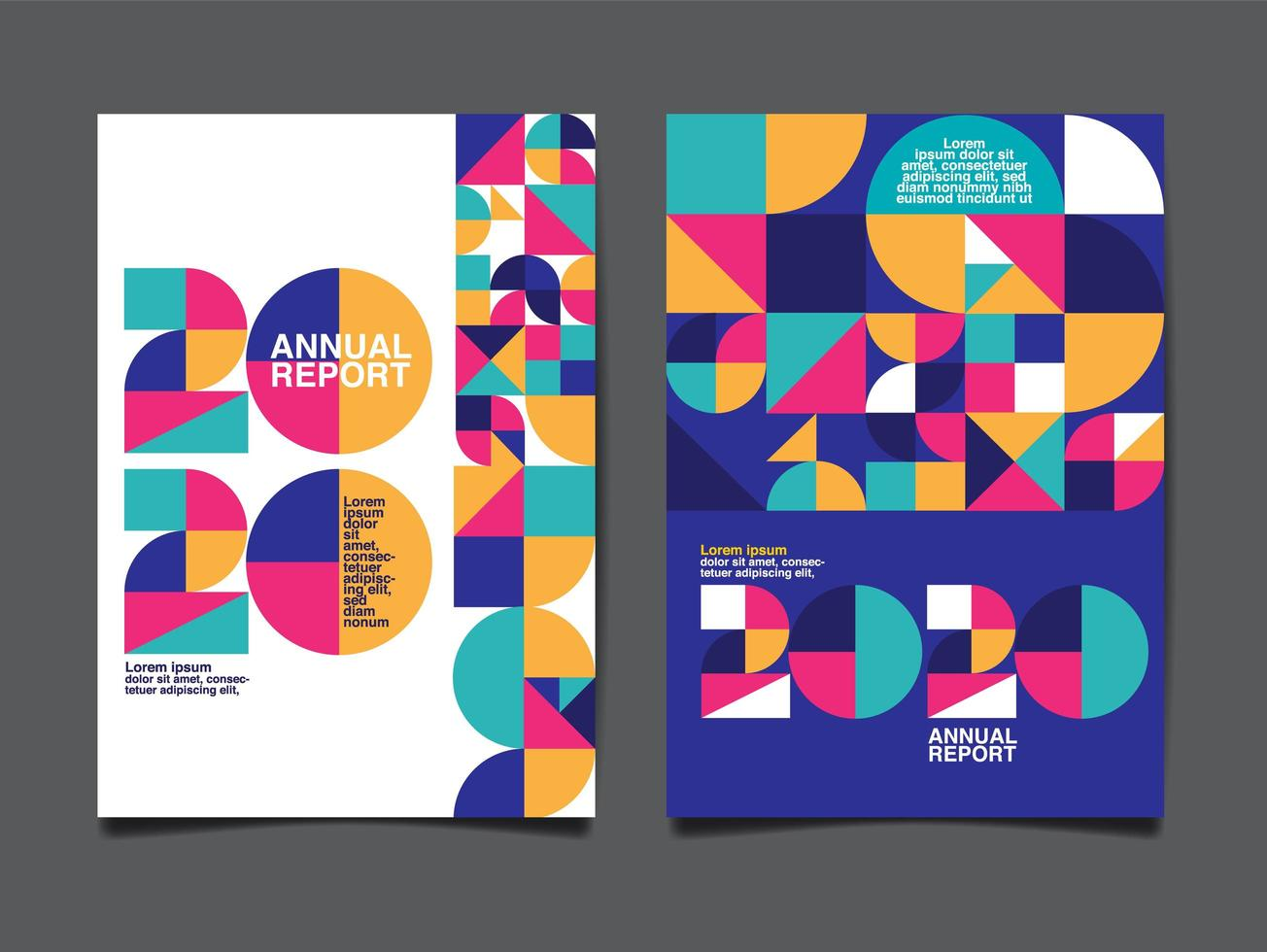 Geometric annual report 2020 cover  vector