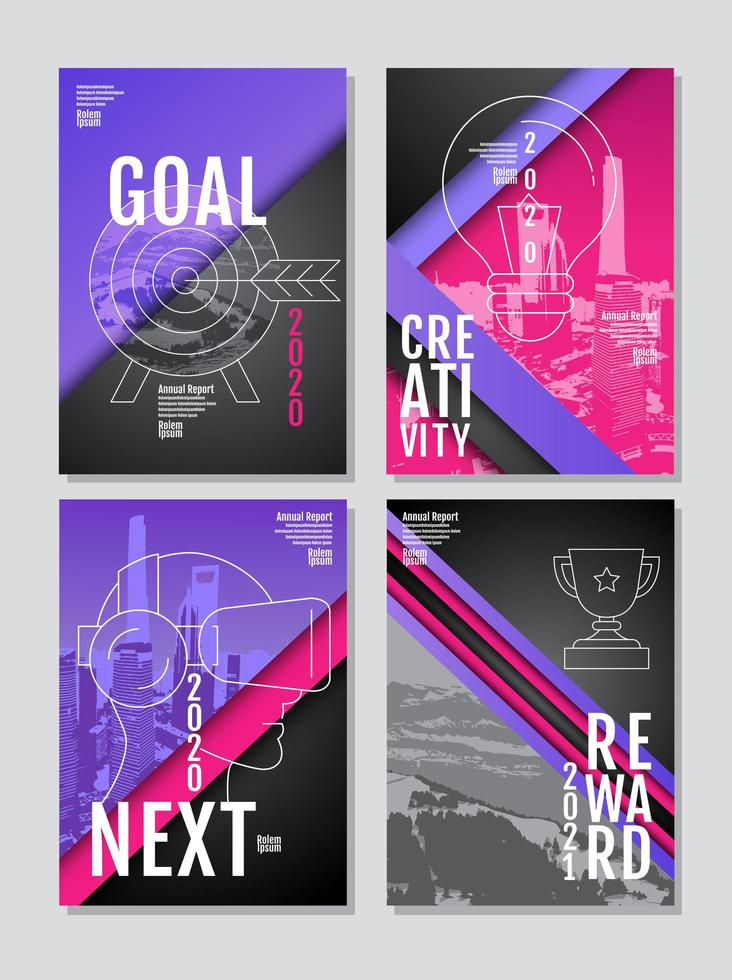 Vertical goals poster set vector