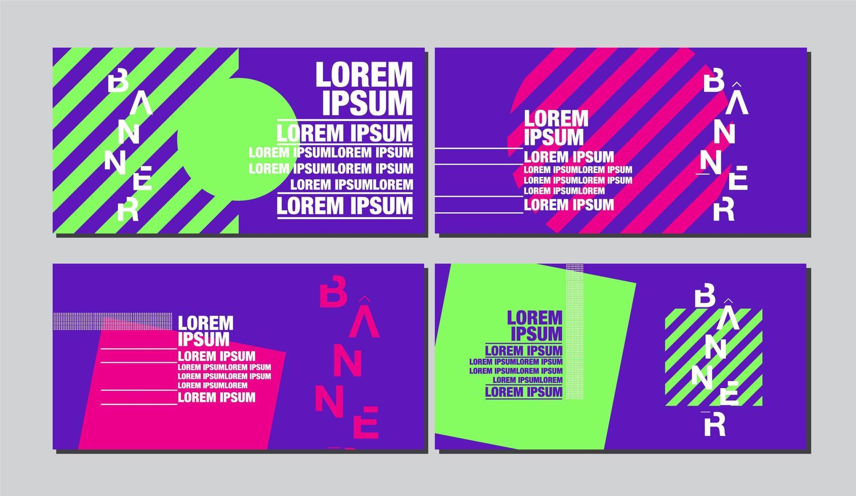 Geometric Shape Banner in Bright Pop Art Style vector