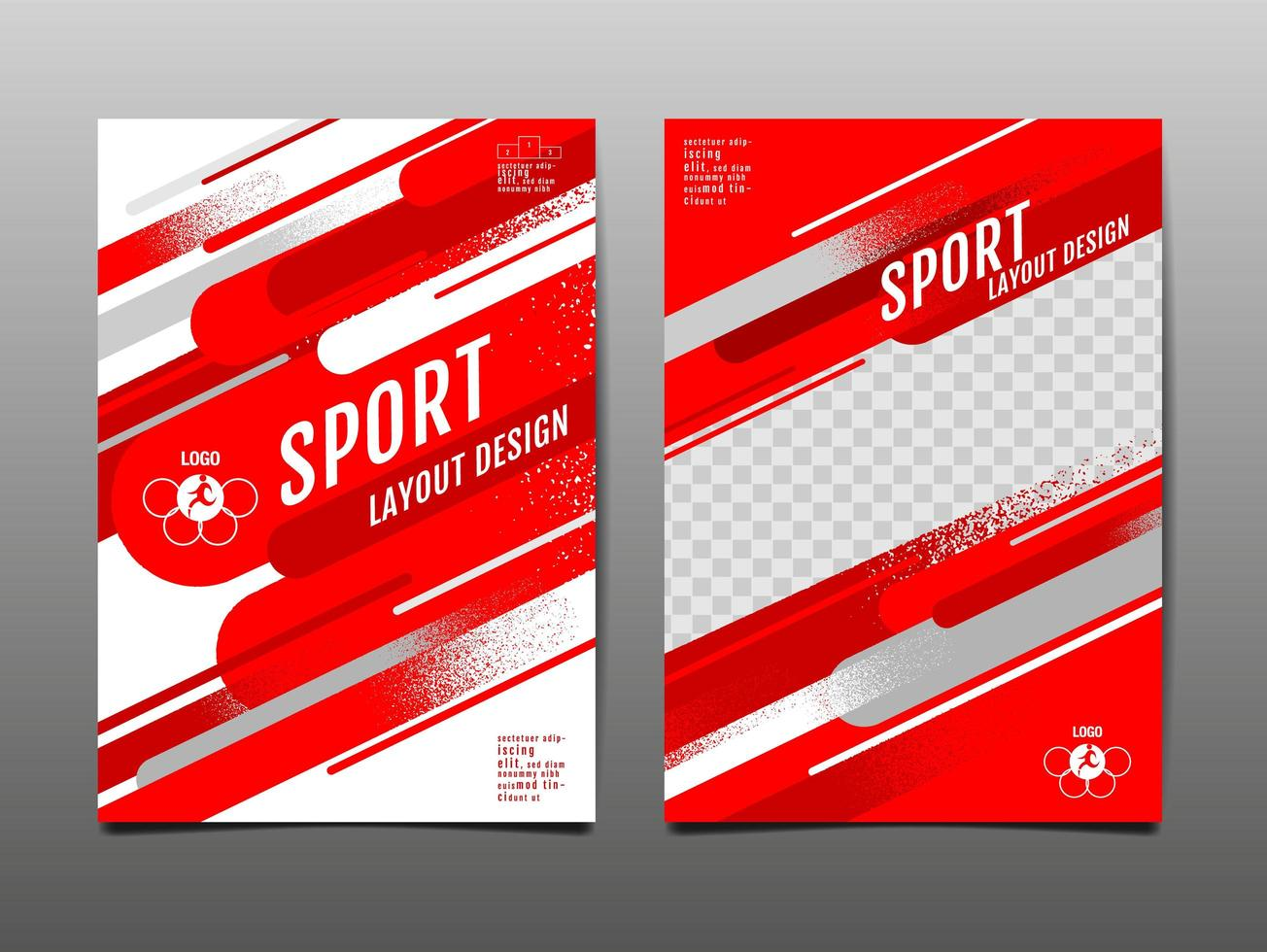 Red Geometric Sports Template Set vector