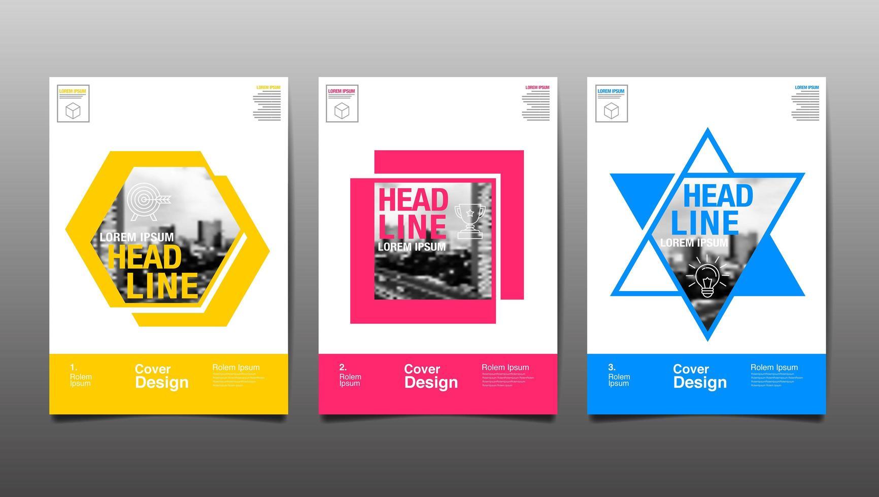 layout designmall med färgglada former vektor