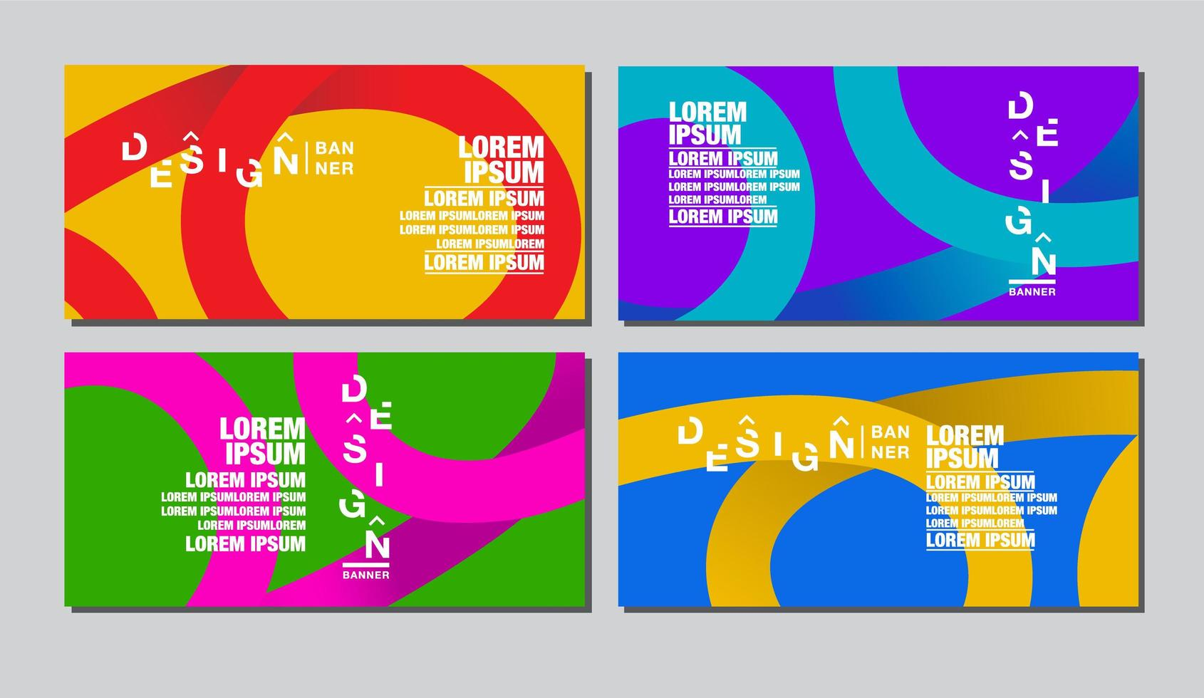 Colorful Abstract Swirl Banner Template Set vector