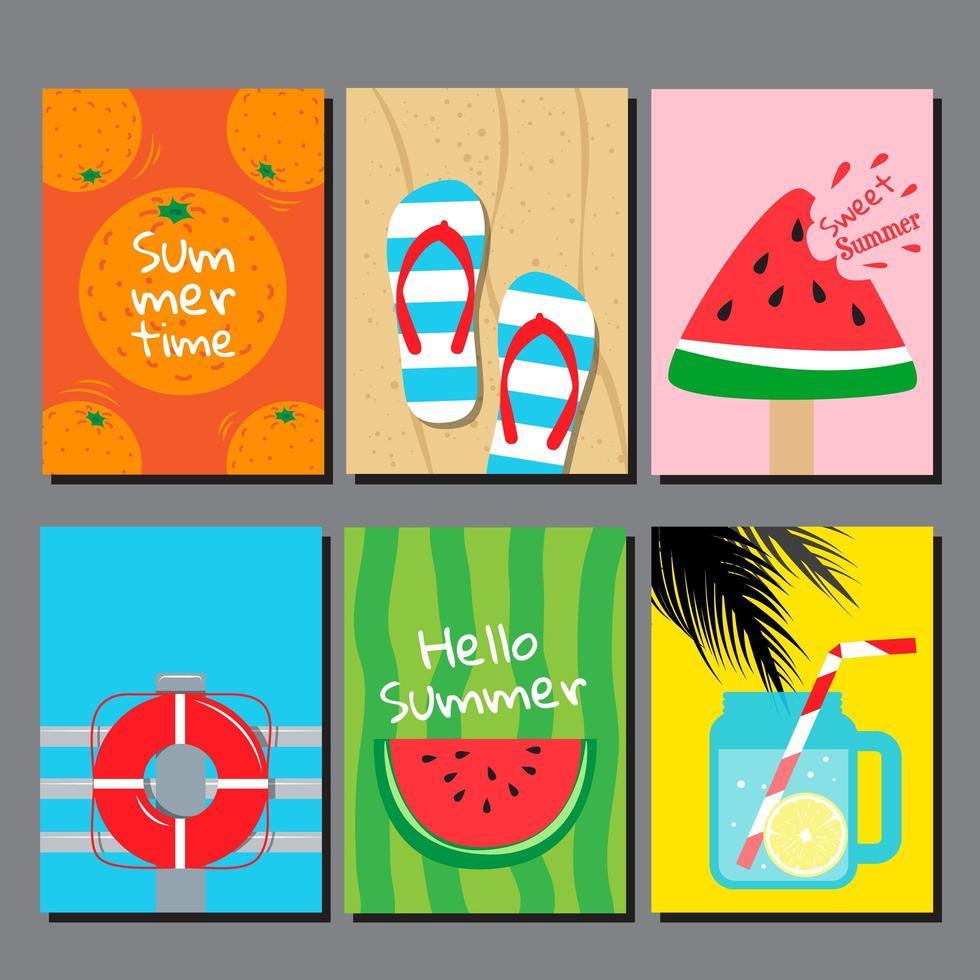tarjeta colorida con artículos temáticos de verano vector