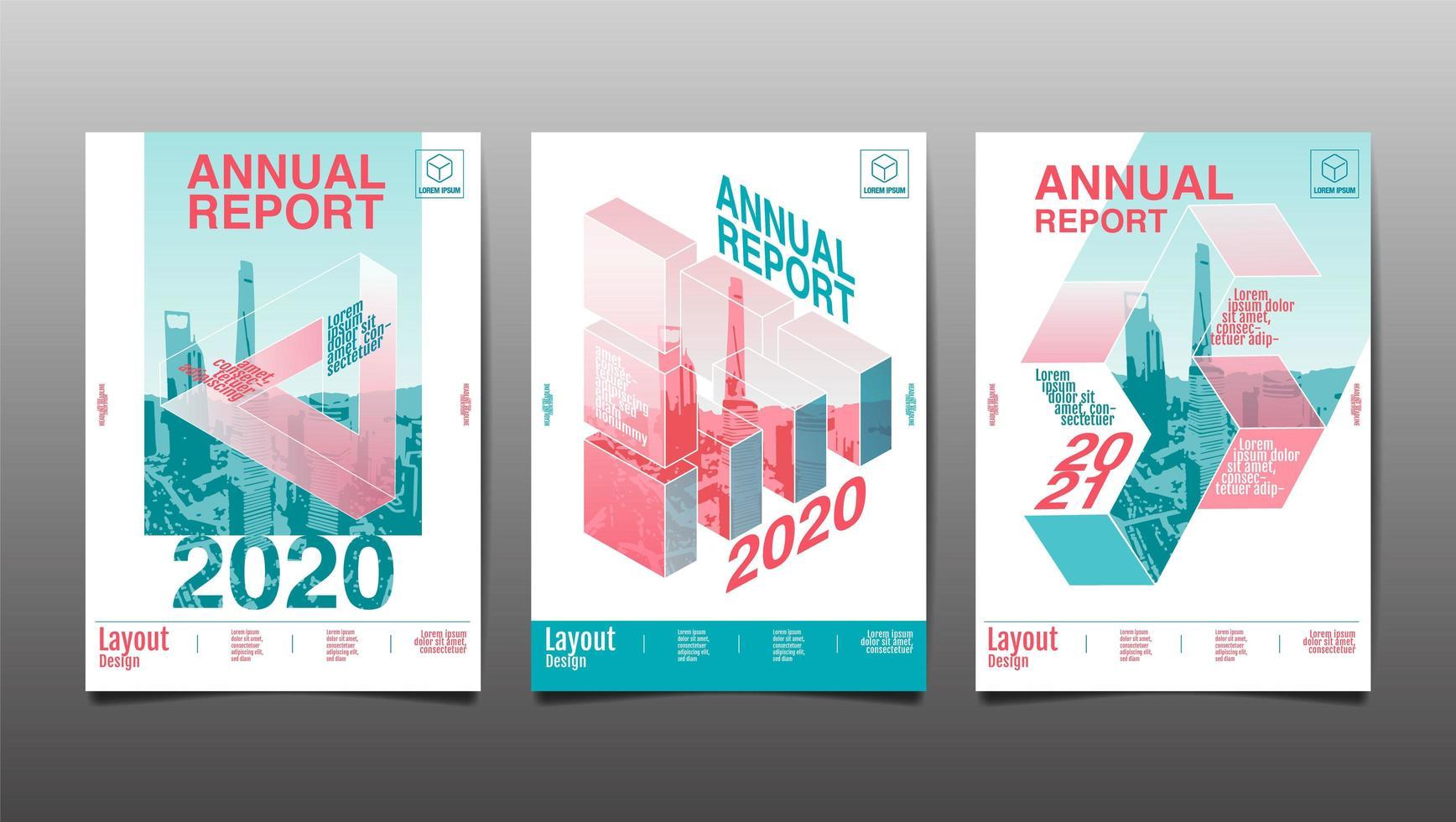 Geometric annual report cover set vector