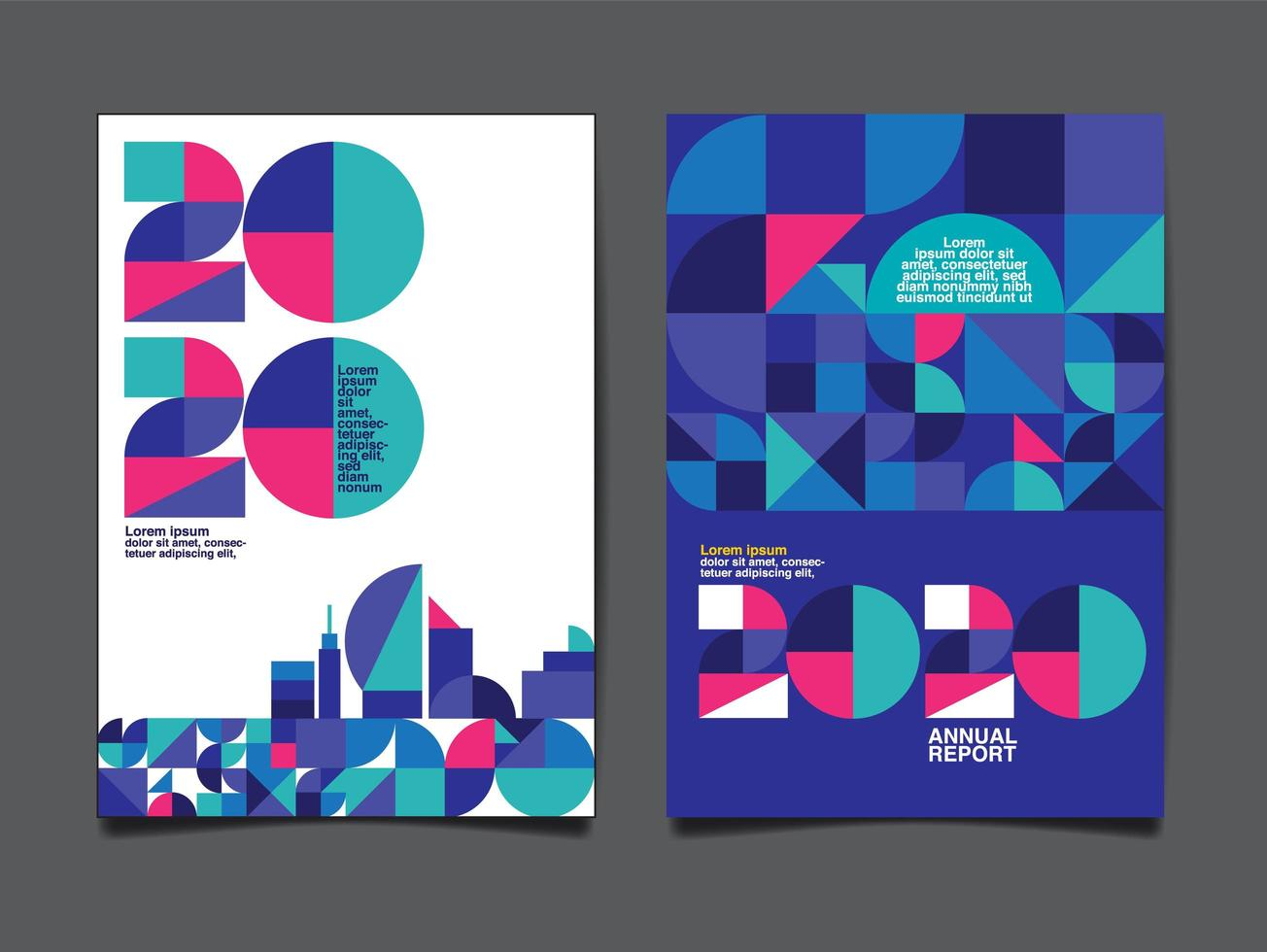Annual Report 2020 Template  vector