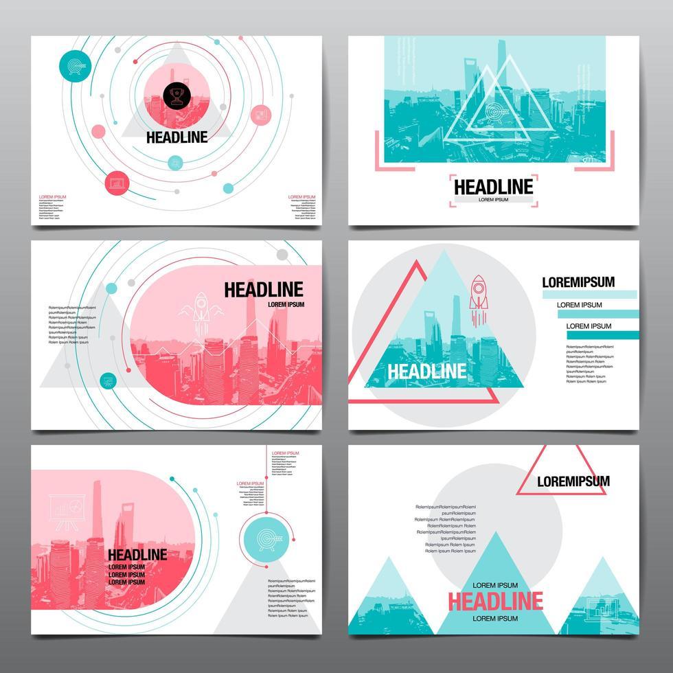design de layout de apresentação definido com formas geométricas vetor