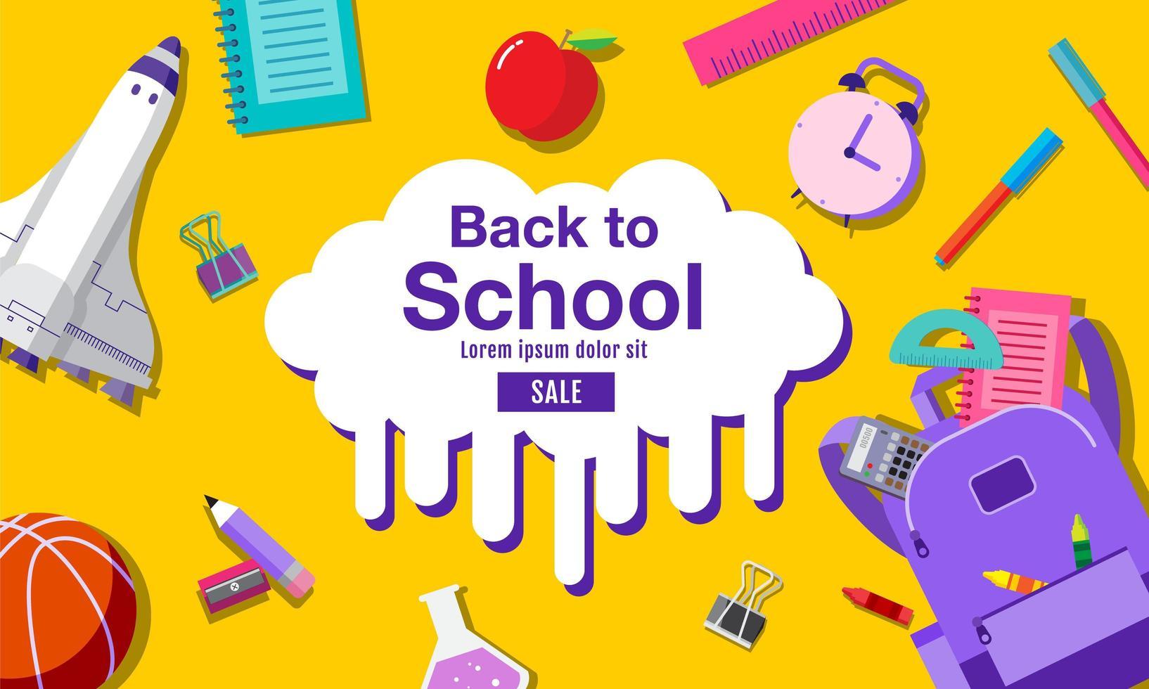 Banner de regreso a la escuela con suministros en amarillo vector