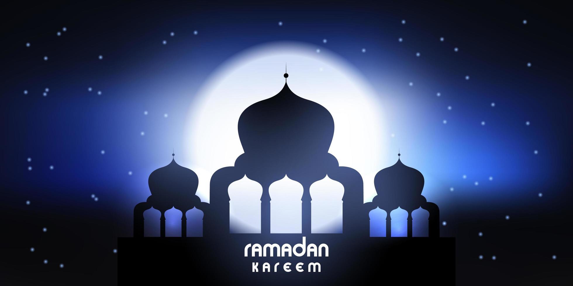 Ramadan Kareem banner with mosque silhouette vector