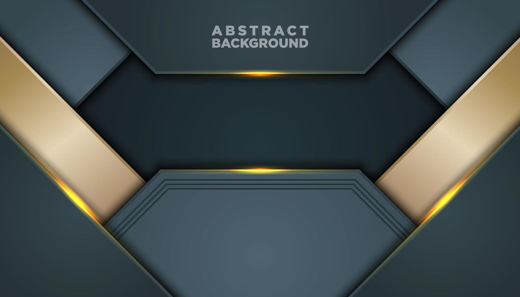 Fondo abstracto gris oscuro y dorado con capas vector