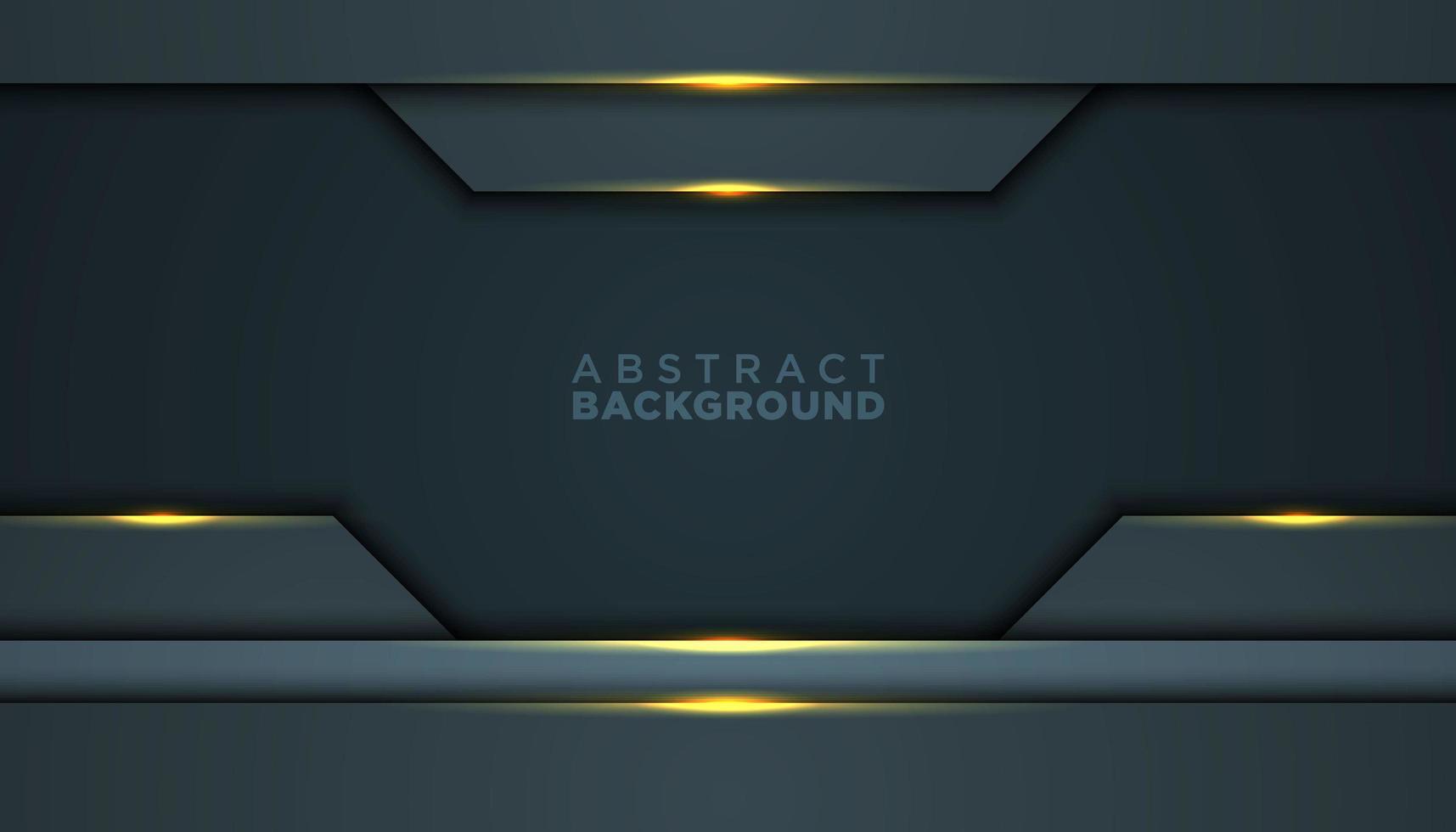 Fondo abstracto oscuro con capas y reflejos dorados vector