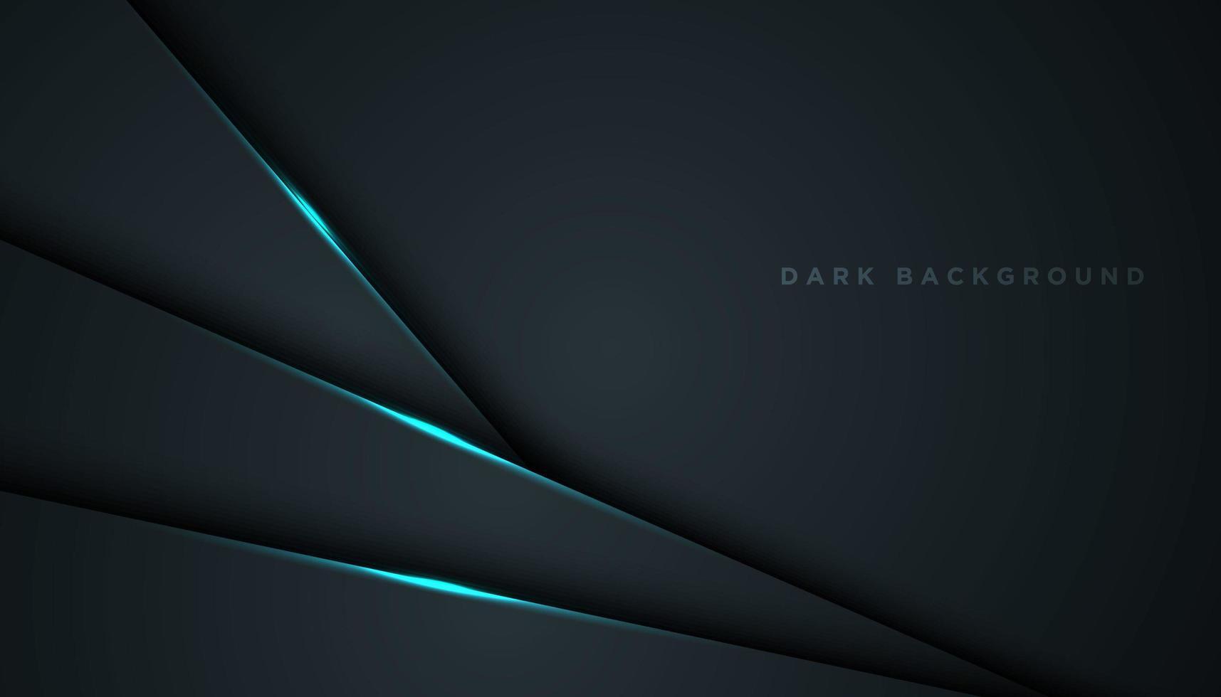 Fondo negro abstracto con brillantes capas diagonales azules vector