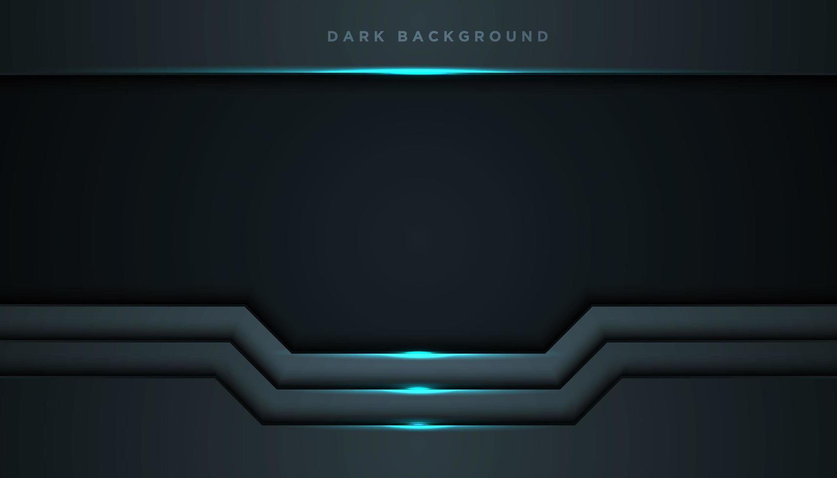 Fondo abstracto marco negro con luz azul brillante vector