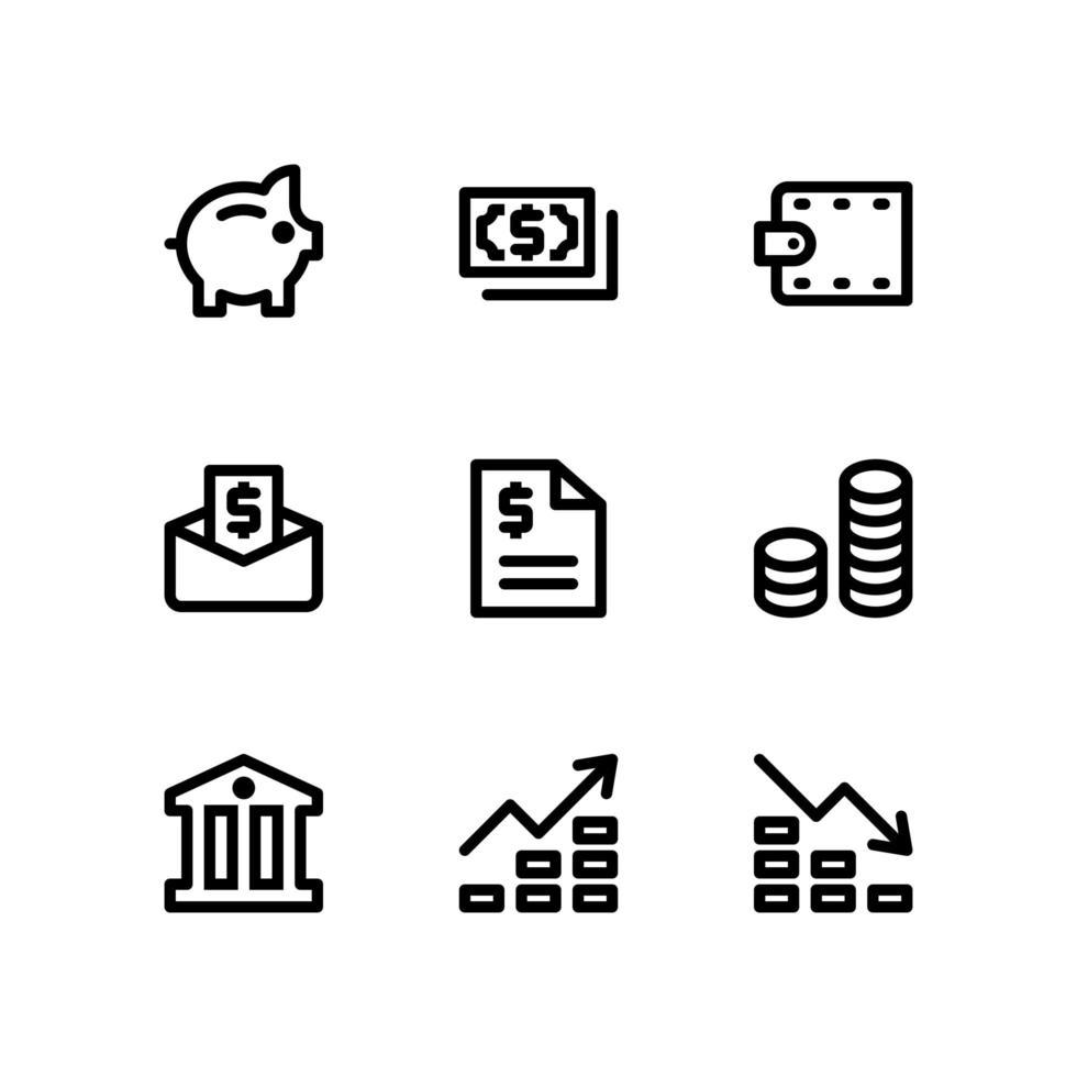 iconos de líneas financieras que incluyen hucha, dinero y más vector