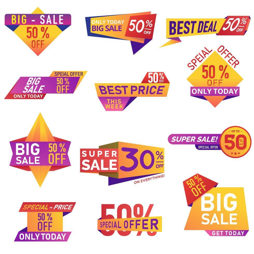Retail Sale Icons Set vector