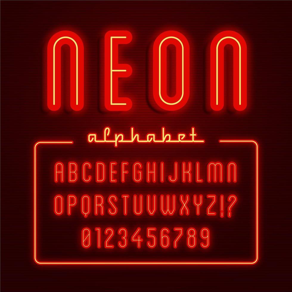 alfabeto de neón rojo brillante vector